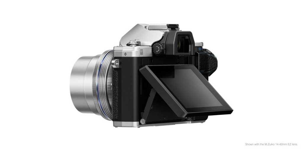 The Olympus OM-D E-M10 Mark III's LCD monitor can flip upward but not 180 degrees for selfies.