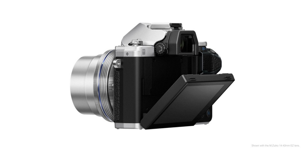 The Olympus OM-D E-M10 Mark III's monitor can tilt downward, which is effective when holding the camera overhead.