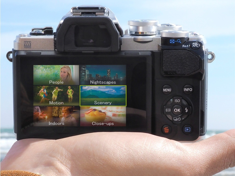 This photo shows the compact size of the Olympus OM-D E-M10 Mark III.