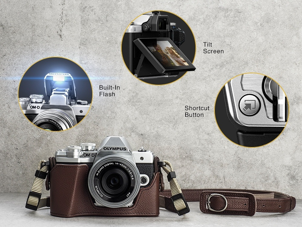 This photo-graphic shows some of the Olympus OM-D E-M10 Mark III's features.