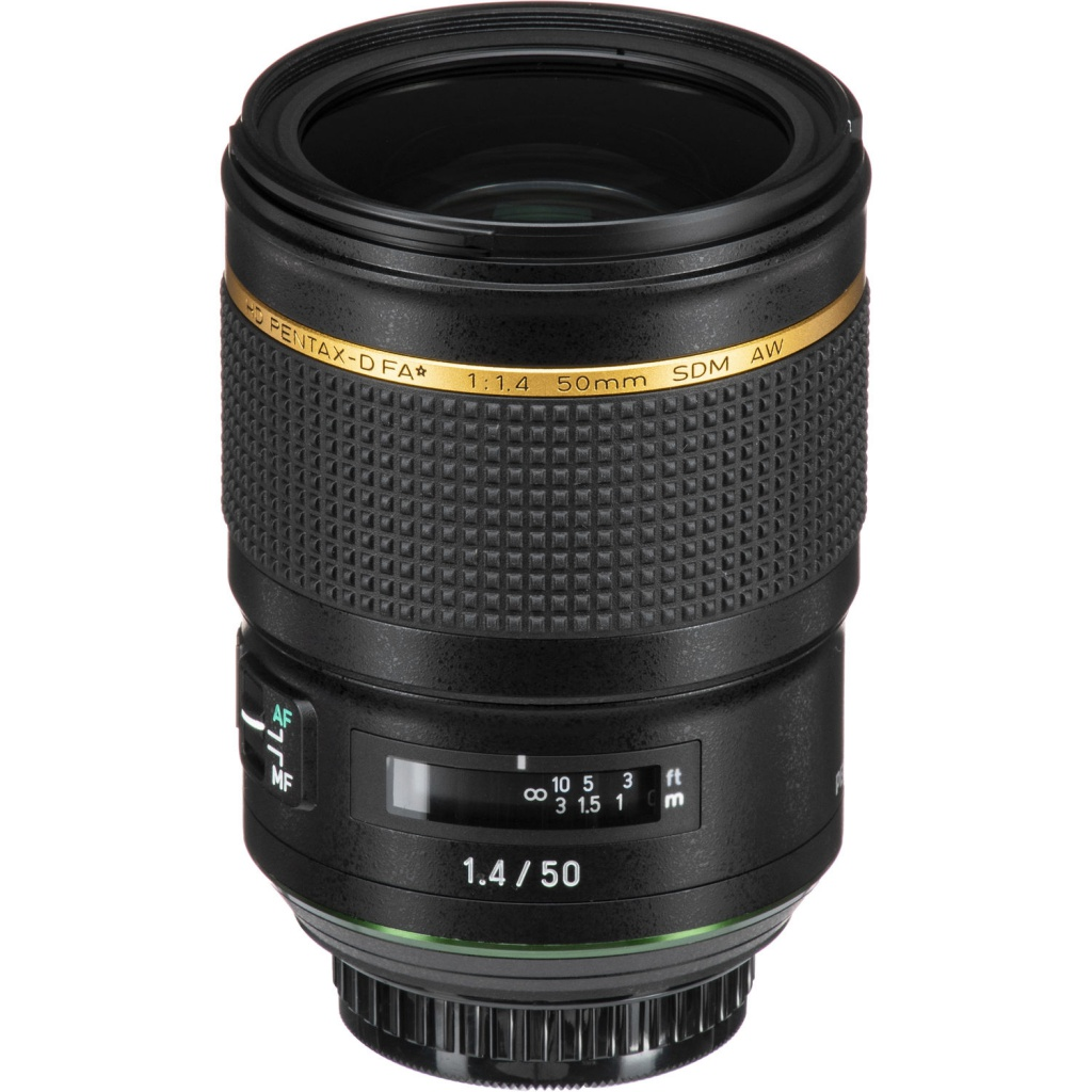 The HD Pentax-D FA* 50mm f/1.4 SDM AW is weather-sealed.