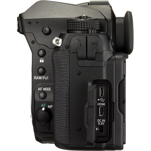 The buttons, switches and connectors for the Pentax K-1.