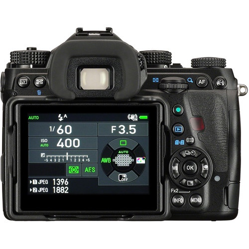 The rear controls and LCD of the Pentax K-1.