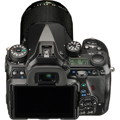 Another view of the Pentax K-1's top deck and rear controls.