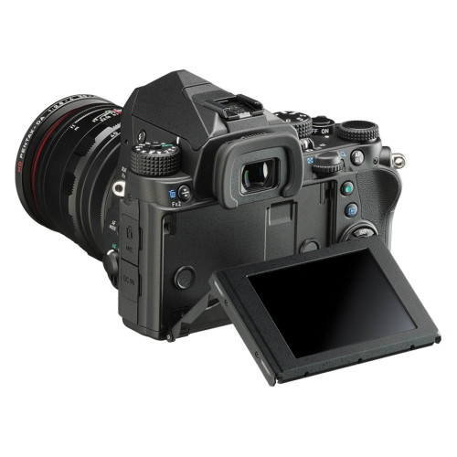 This photo of the Pentax KP shows its tilting 3.0-inch LCD monitor.