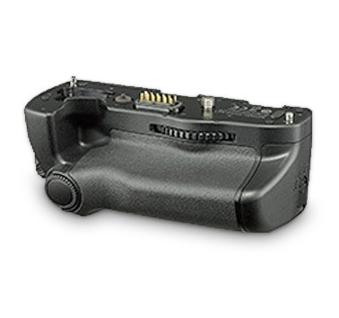 The optional accessory battery grip holds a second lithium-ion cell.