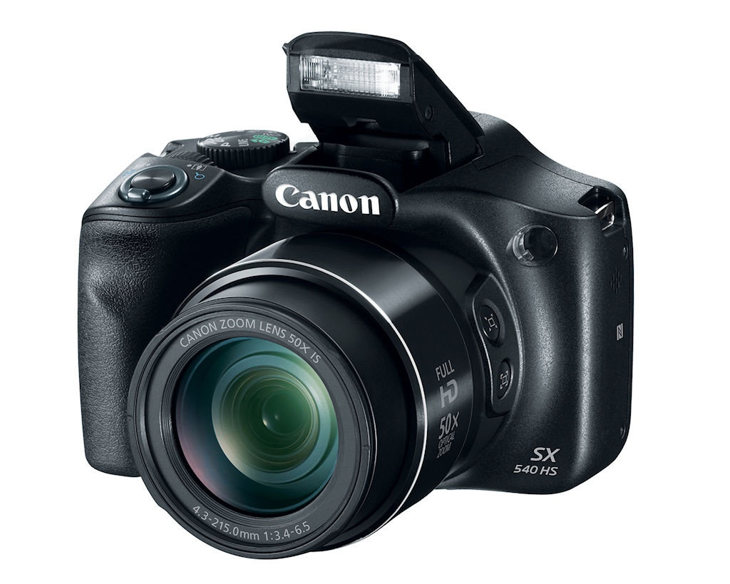 PowerShot SX540 HS with its flash extended.