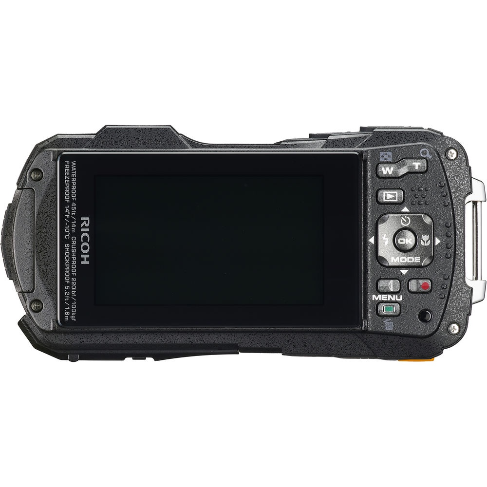The rear controls and LCD monitor of the Ricoh WG-50.