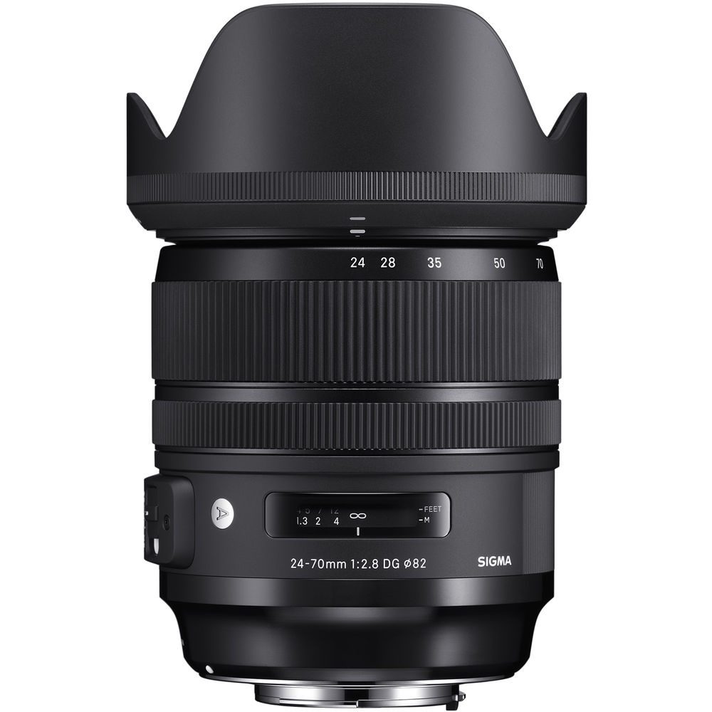 The Sigma 24-70mm f/2.8 DG HSM OS Art fitted with its petal-shaped lens shade.