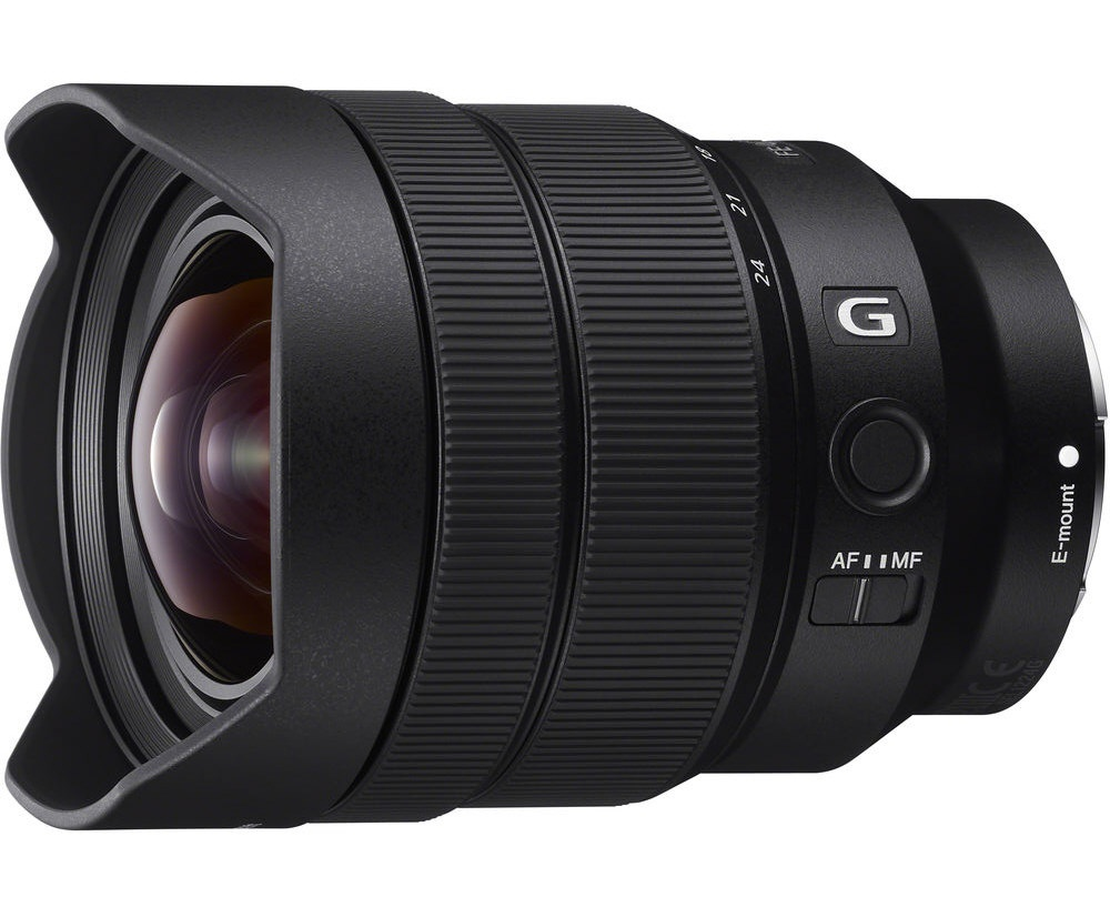 The Sony G 12-24mm has a non-removable petal lens shade.