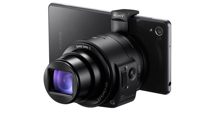 "The Sony QX 30 is a sensor and lens unit that has no body. It wirelessly connects to a smartphone, on which it displays a ""live view"" image. On-screen controls are used to adjust the photo before and after capture."