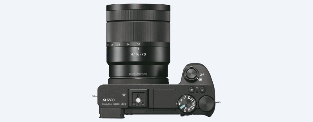 The top deck and controls of the Sony A6500.