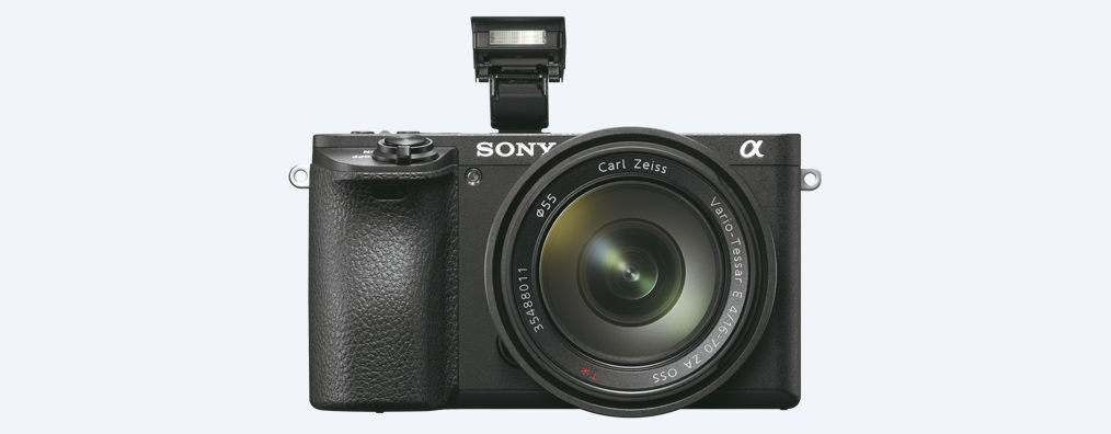 The Sony A6500 has a small pop-up flash unit, as well as Sony's Multi Interface Shoe for attaching a larger flash unit.