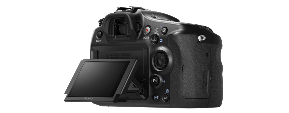 The Sony A68's 2.7-inch LCD screen pivots up and down.