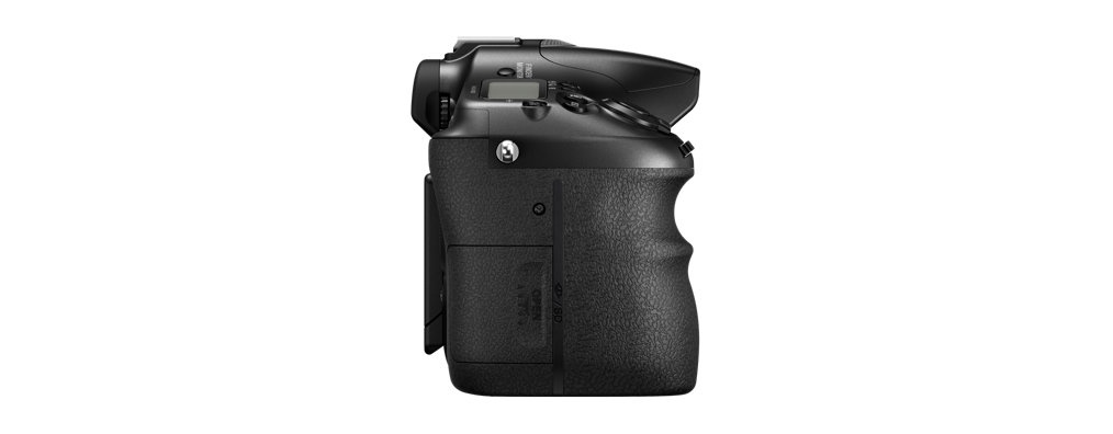 The right side of the Sony A68 provides access to the memory-card slot.