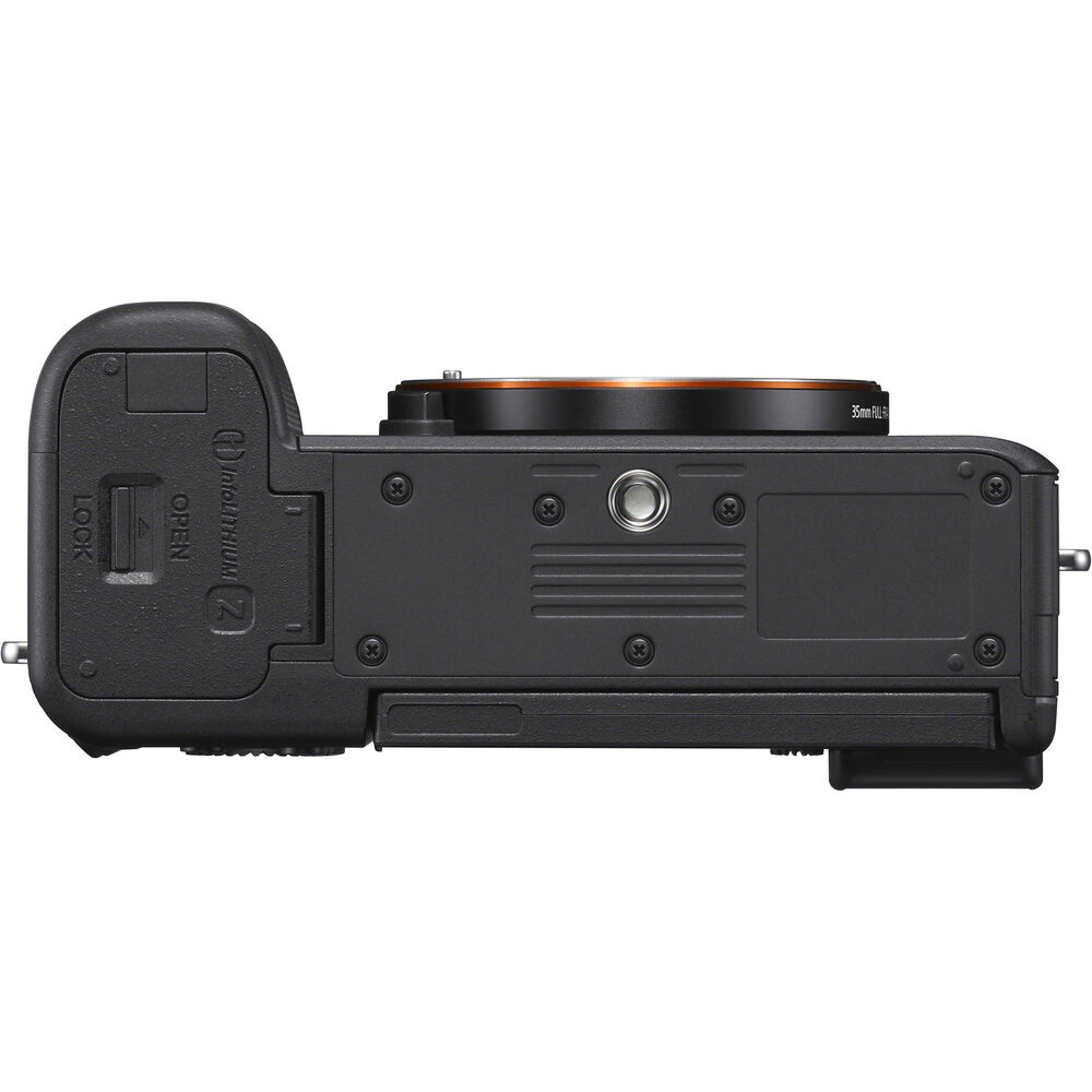 The base of the Sony Alpha 7C has a tripod socket and access to the battery.
