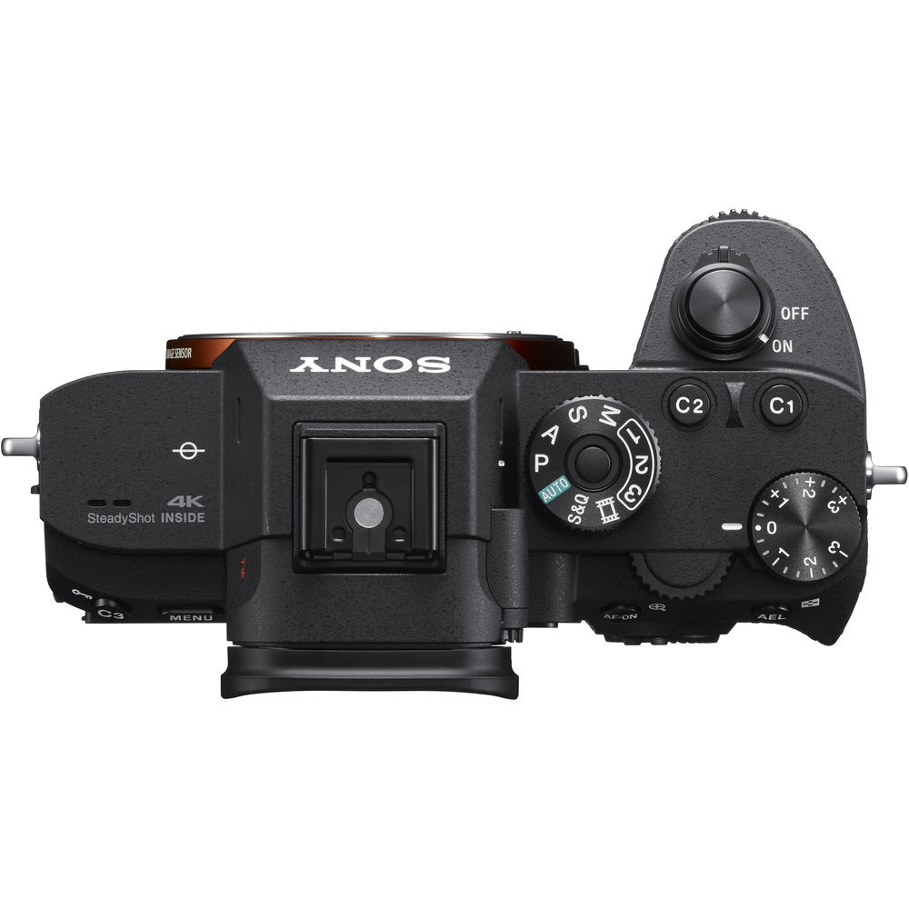 The top deck and controls of the Sony A7R III.