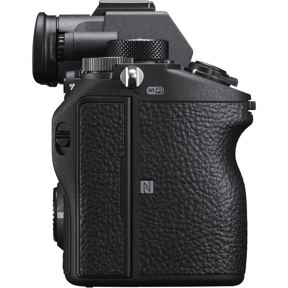 The handgrip of the Sony A7R III houses the battery and up to two memory cards.
