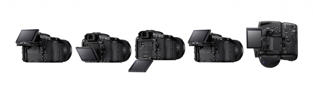 Some of the positions of the Sony A99 II's LCD monitor.