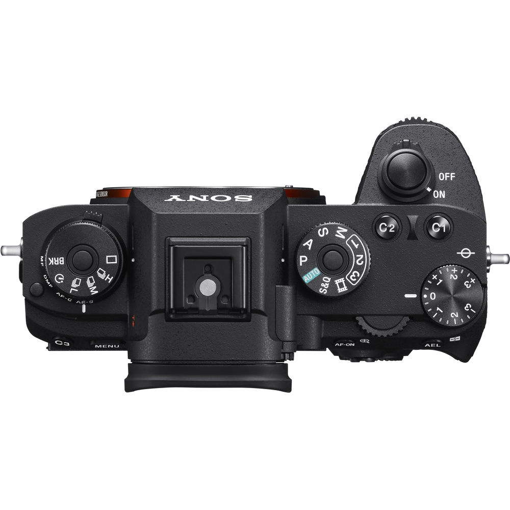 "The left side of the Sony A9's top deck is a lockable dial to access ""Drive"" modes."