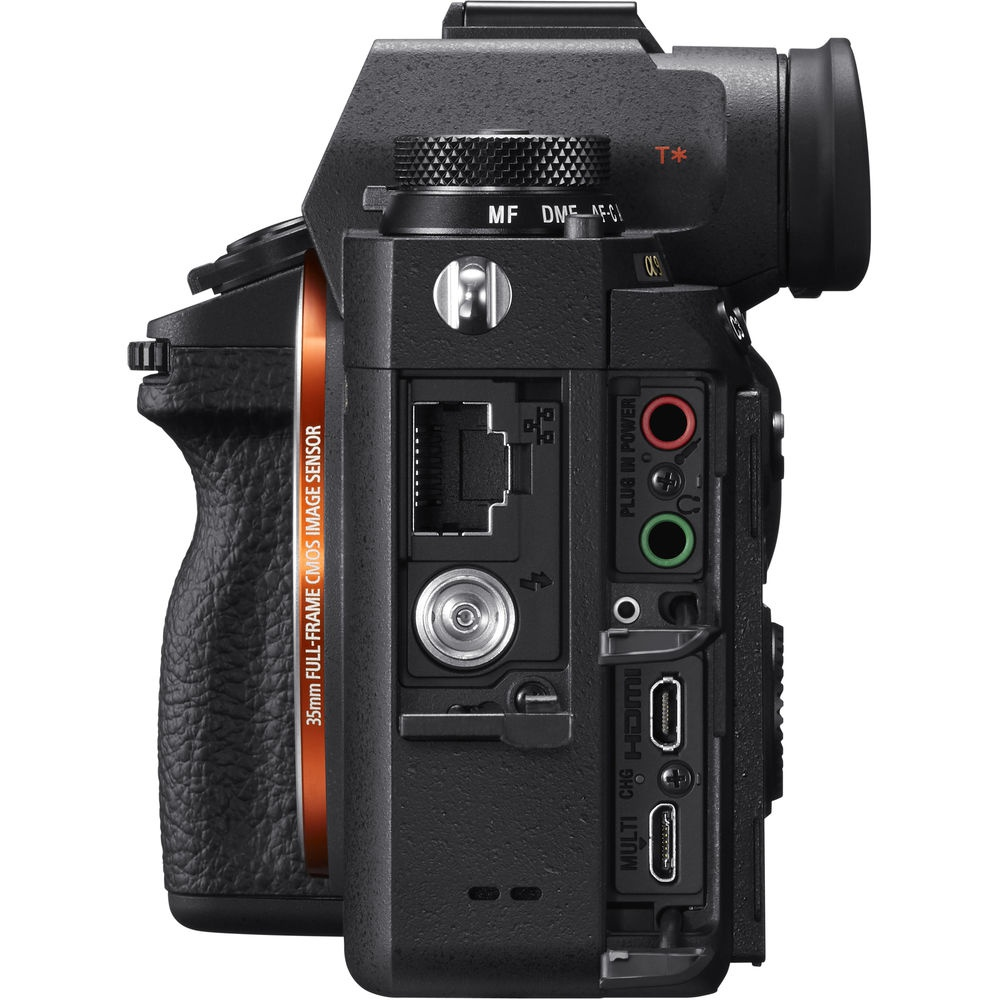Two of the available ports on the Sony A9 are for a standard LAN connection and flash synchronization (silver port).