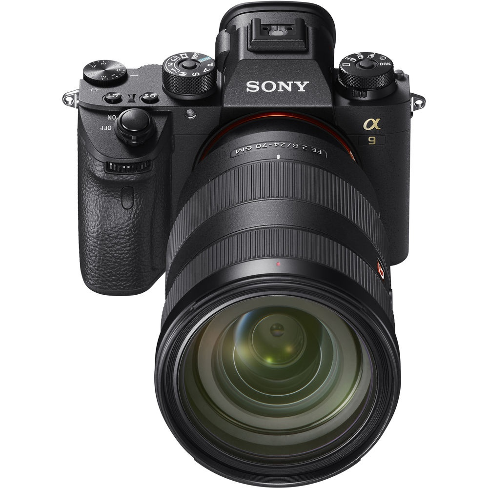 The Sony A9 is seen with the Sony G Master 24-70mm zoom lens.