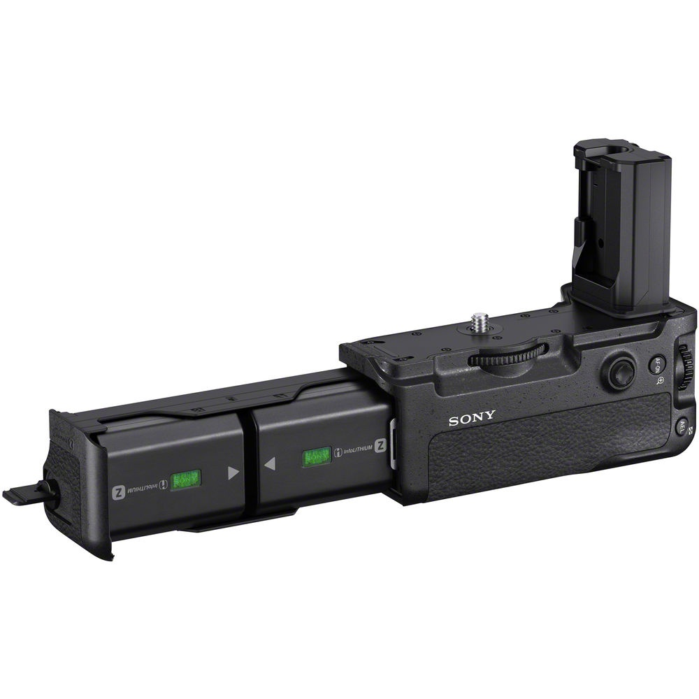 The Sony A9 battery grip holds two NP-FW100 batteries.