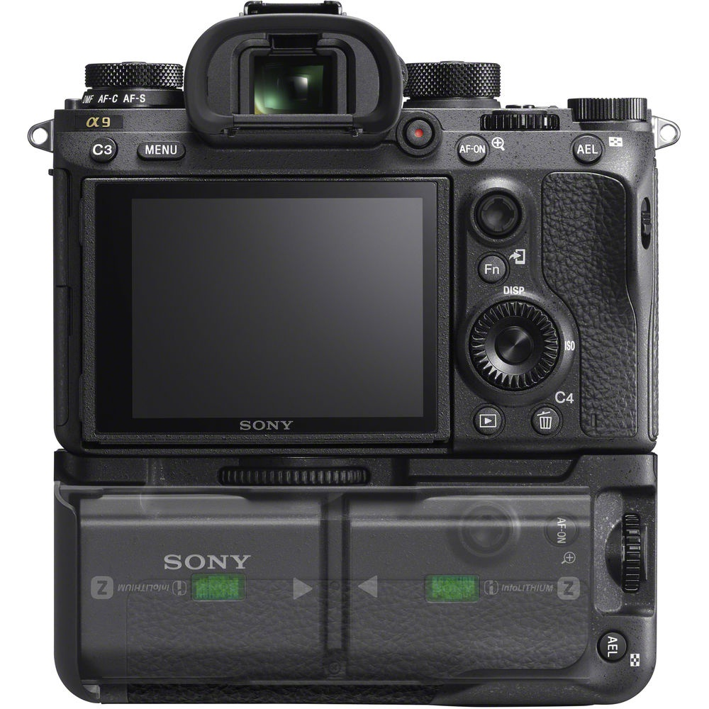 This promotional photo shows the orientation of the batteries within the Sony A9's battery grip.