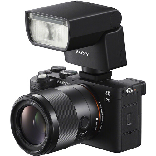 The Sony Alpha 7C with the Sony HVL-F28RM flash unit mounted.