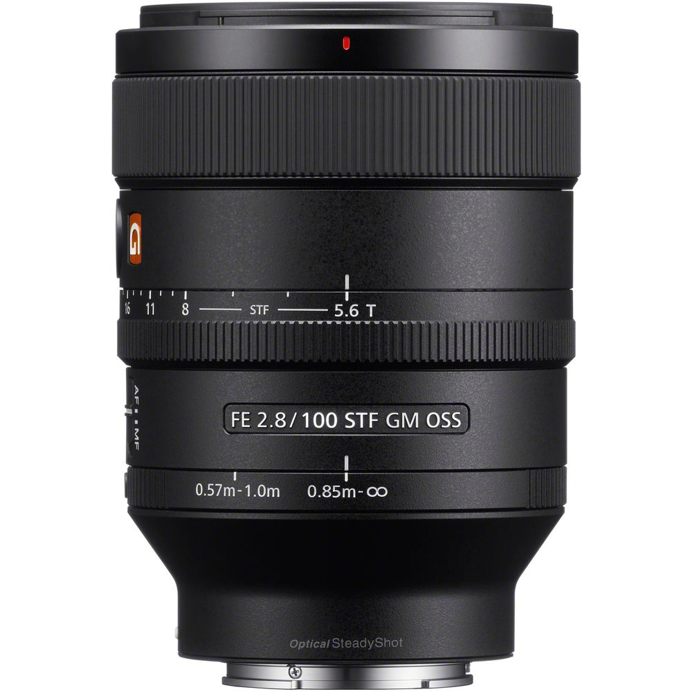 The Sony f/2.8 100mm  STF GM has two minimum-focus distances that can be set using the ring near the base of the lens barrel.