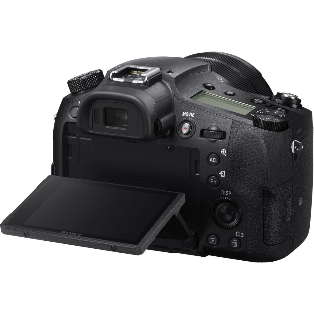 The 3.0-inch LCD monitor of the Sony RX 10 IV tilts and is touch-enabled.