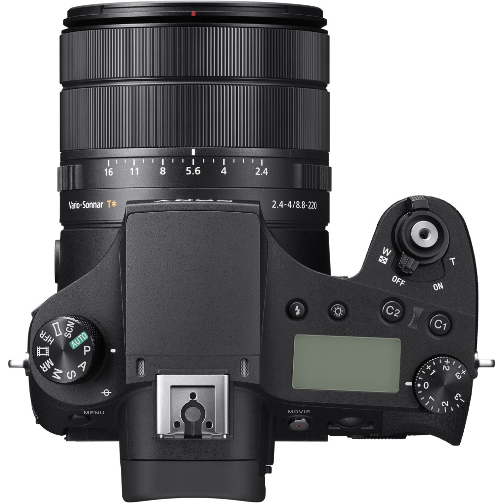 The top deck and LCD panel of the Sony RX 10 IV.