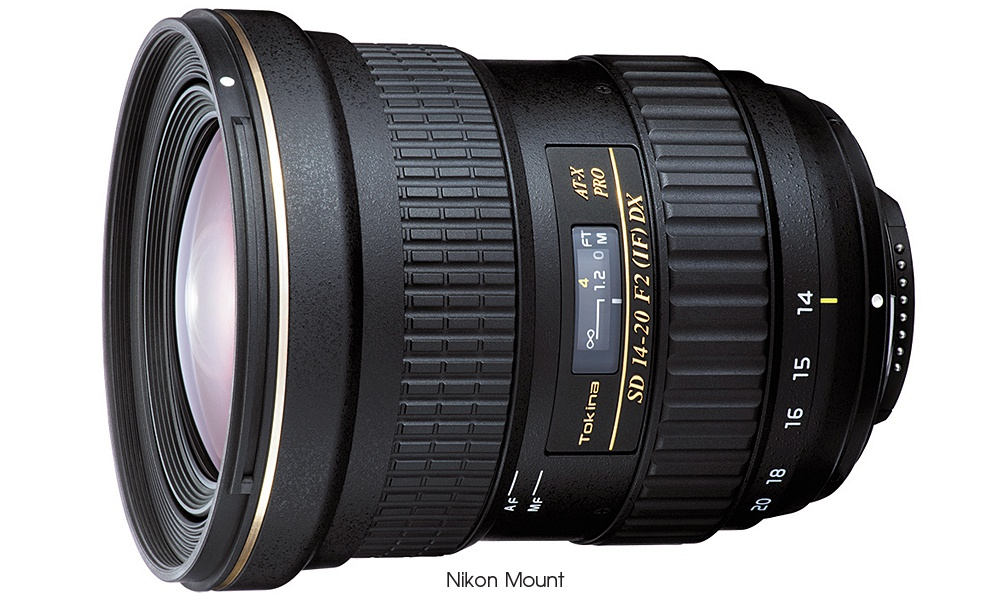 The Tokina AT-X 14-20 F2 PRO DX in Nikon F mount.