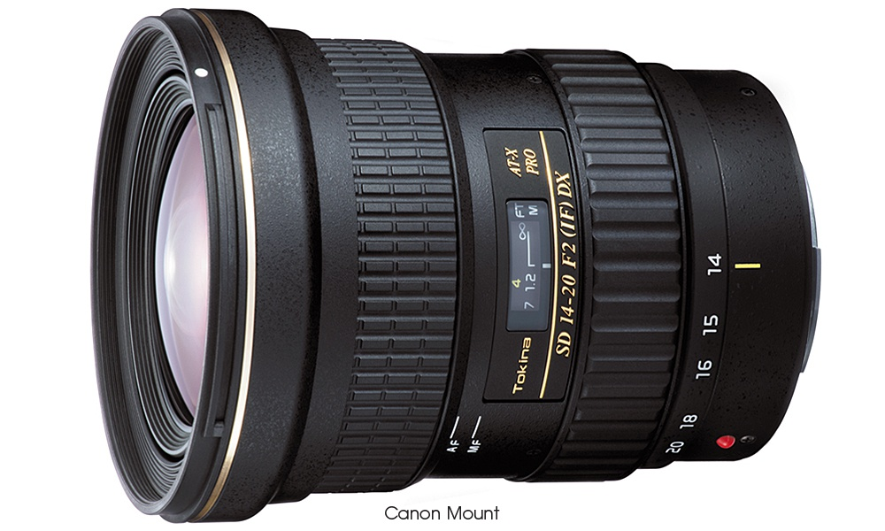 The Tokina AT-X 14-20 F2 PRO DX in Canon EOS EF-S mount.