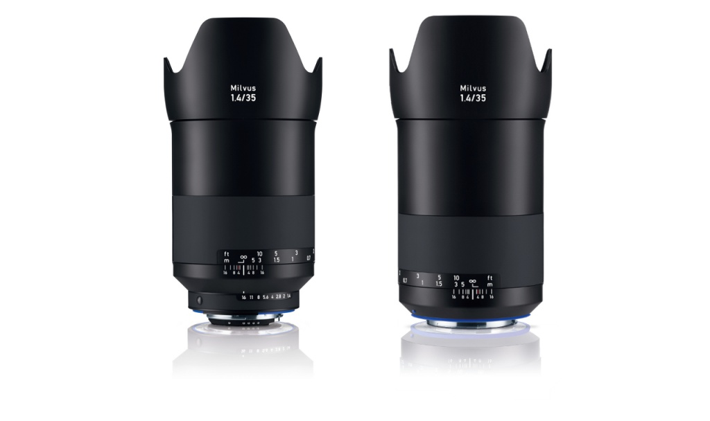 The Zeiss Milvus f/1.4 35mm is available in either Nikon F, left, or Canon EOS mounts.