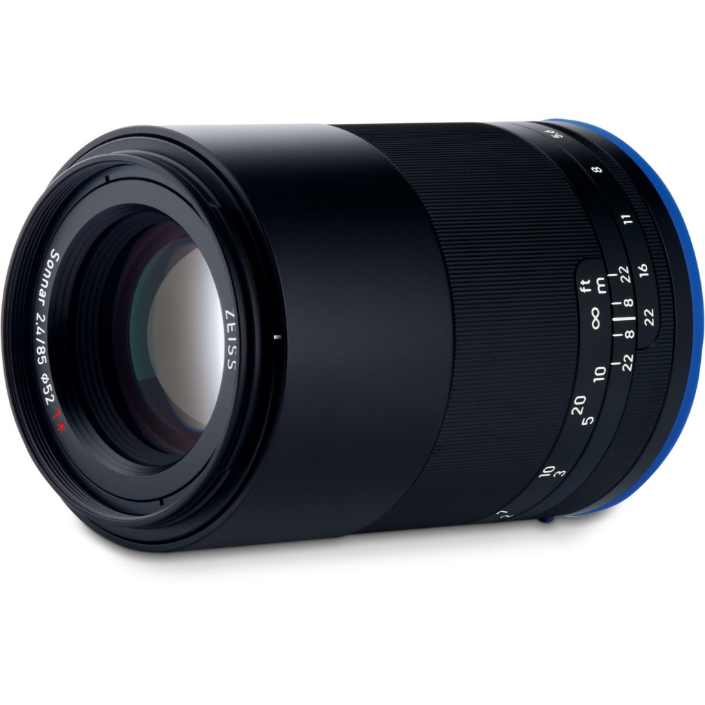The Zeiss Loxia f/2.4 85mm without its lens shade.