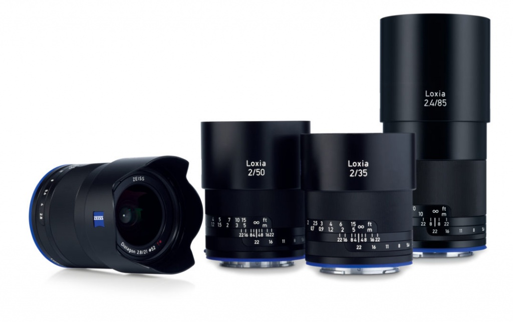 There are now four lenses in the Loxia lineup. From left, 21mm, 50mm, 35mm and 85mm.