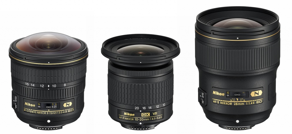 Nikon 8-15mm, 10-20mm and 28mm