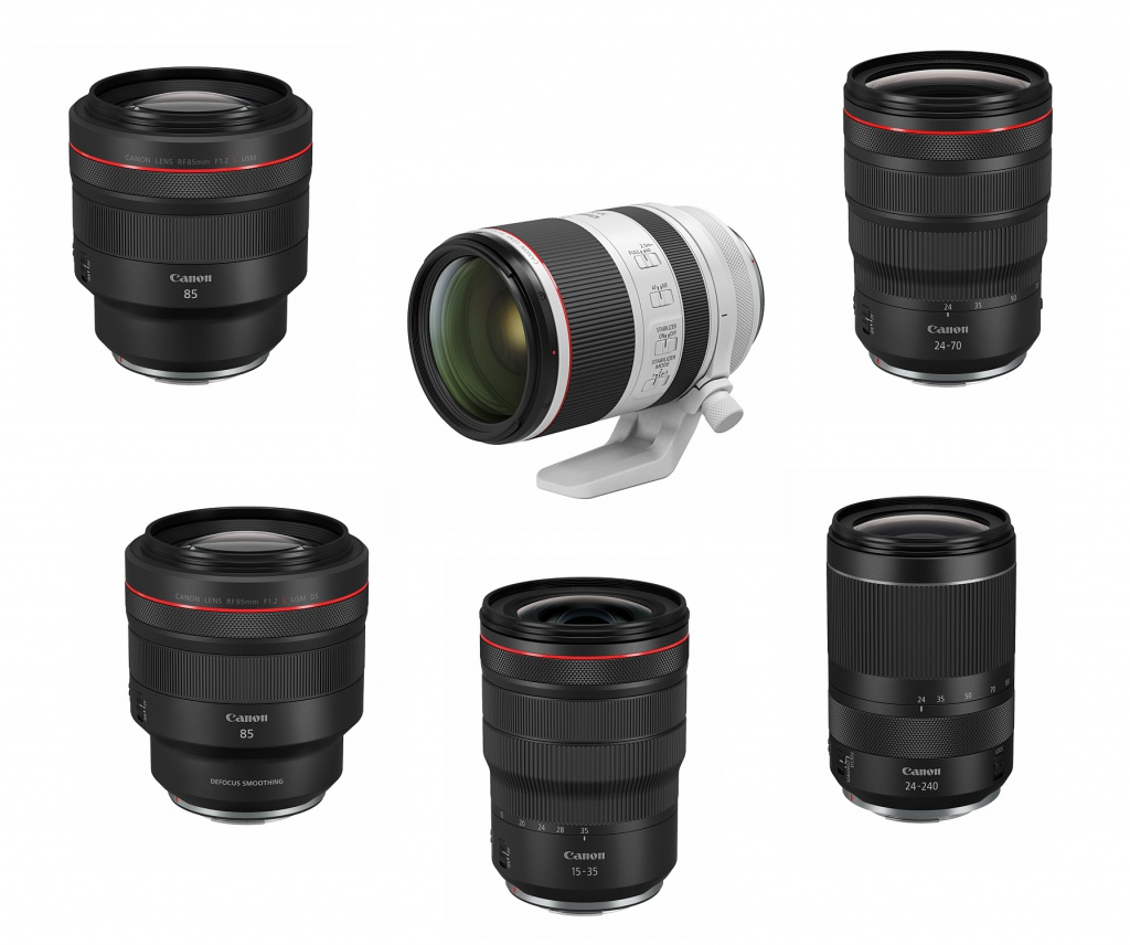 Six Canon EOS RF-mount lenses