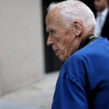 Bill Cunningham at New York Fashion Week - Men's in 2015. (Photo by Mike Elek)