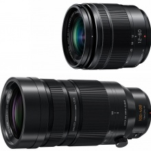 Panasonic Lumix 12-60mm and 100-400mm zooms.