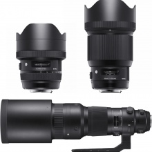 Sigma 12-24mm, 85mm and 500mm lenses
